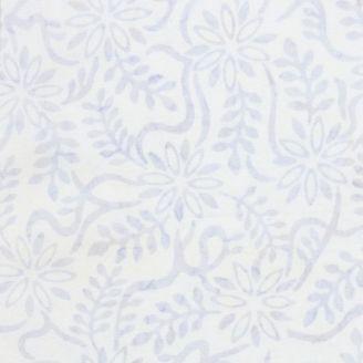 Tissu batik fleurs et fougères ton-sur-ton gris clair