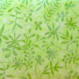 Tissu batik feuilles ton sur ton vert tendre