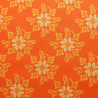 Tissu patchwork fleur orientale fond orange
