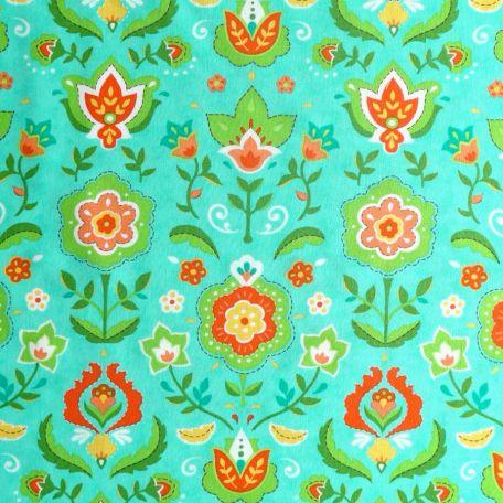 Tissu patchwork fleurs folkore fond turquoise