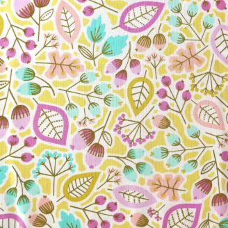 Tissu patchwork fleurs, feuuilles et glands fond anis