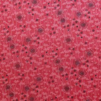 Tissu patchwork éclosions noires fond rouge fraise