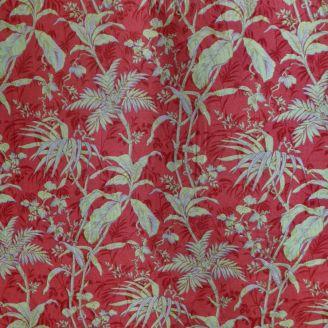 Tissu patchwork arborescences vert clair fond rouge