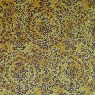 Tissu patchwork médaillons de fleurs fond jaune moutarde