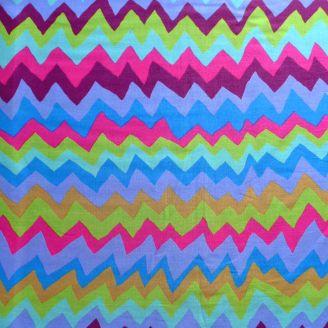 Tissu patchwork Motif zig zag vert Soundwaves bleu