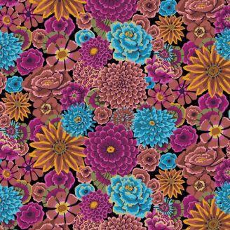 Tissu Kaffe Fassett grandes fleurs Enchanted fond noir GP172