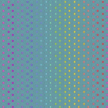 Tissu patchwork Tula Pink hexagones multicolores fond turquoise - True colors