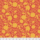 Tissu patchwork Tula Pink fleurs sauvages oranges fond rouge (wildflower snapdragon) - True colors
