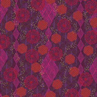 Tissu patchwork fresque orientale Tapestry fond prune - Kismet de Valori Wells