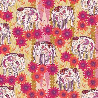 Tissu patchwork éléphants et fleurs - Kismet de Valori Wells