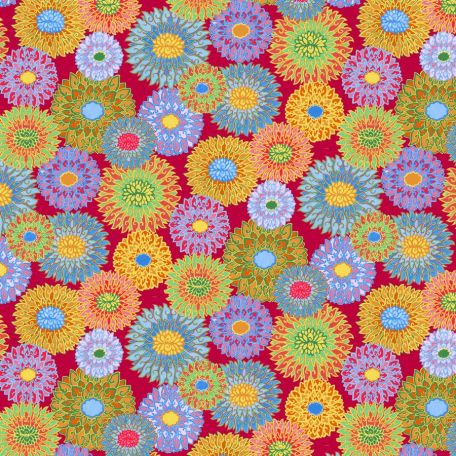 Tissu patchwork fleurs chinoises Padma fond rouge - Silk road de Snow Leopard