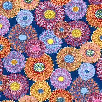 Tissu patchwork grandes fleurs chinoises Padma fond bleu - Silk road de Snow Leopard