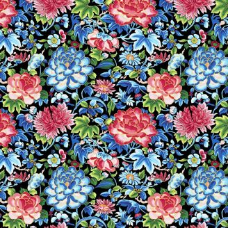 Tissu patchwork fleurs broderies Ming fond noir - Silk road de Snow Leopard