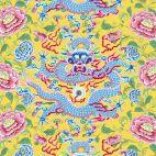 Tissu patchwork dragons et pivoines fond jaune - Silk road de Snow Leopard