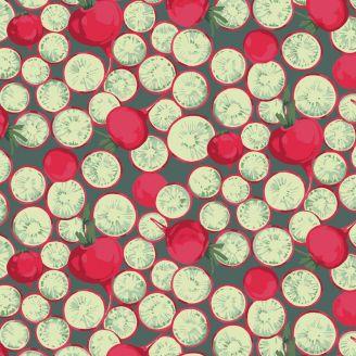 Tissu patchwork radis rouges fond vert - Veggies de Martha Negley