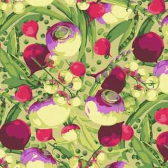 Tissu patchwork jardinière de légumes fond clair - Veggies de Martha Negley