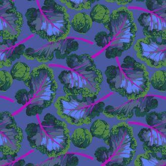 Tissu patchwork feuilles et choux fond bleu - Veggies de Martha Negley