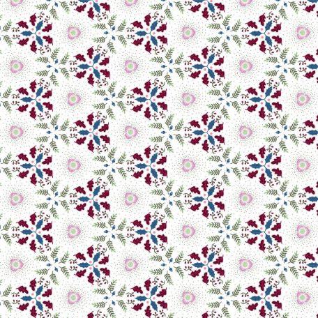 Tissu patchwork couronne de Noël fond blanc neige - Winter Games par Odile Bailloeul
