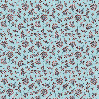 Tissu patchwork baies d'hiver fond bleu givré - Winter Games par Odile Bailloeul