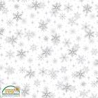 Tissu patchwork flocons de neige argentés fond blanc - Magic Christmas
