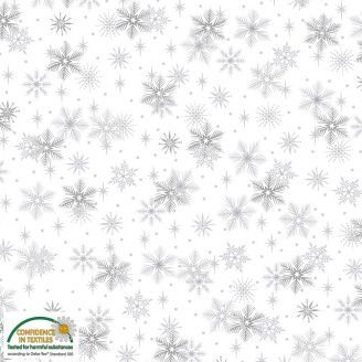 Tissu patchwork flocons de neige argentés fond blanc - Magic Christmas