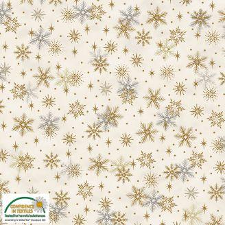 Tissu patchwork flocons de neige dorés fond blanc - Magic Christmas