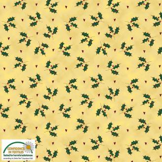 Tissu patchwork feuilles de houx fond crème - Magic Christmas