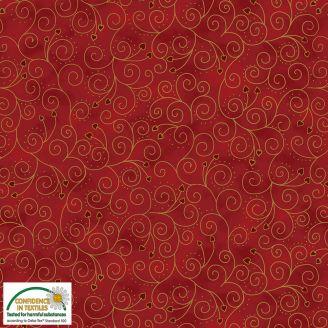 Tissu patchwork volutes dorées fond rouge foncé - Magic Christmas