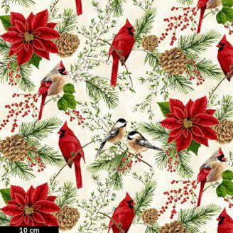 Tissu patchwork oiseaux et poinsettias fond écru - Holiday Decadence