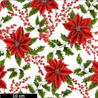 Tissu patchwork poinsettias et gui fond écru - Holiday Decadence