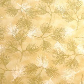 Tissu patchwork branches de pins dorées fond crème - Magic Christmas