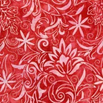 Tissu batik fleurs étoilées et feuilles fond rouge