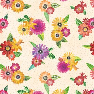 Tissu patchwork bouquets de fleurs fond crème - Floral Flight