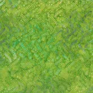 Tissu batik feuilles d'élodée vert pomme
