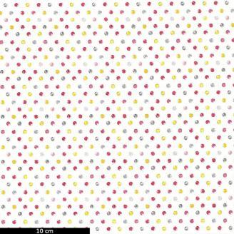 Tissu patchwork petits pois roses et gris fond blanc