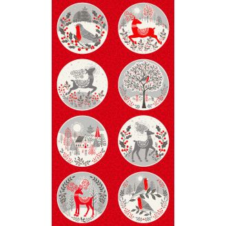 Panneau cercles de Noël rouges et gris - Scandi