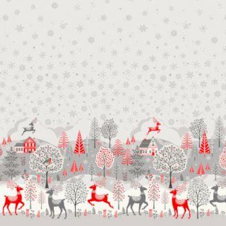 Tissu patchwork double bordure de Noël grise - Scandi