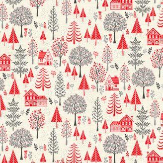 Tissu patchwork maisons dans la forêt rouge et grise fond écru - Scandi