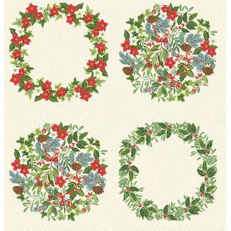 Panneau couronnes de Noël fond écru - Yuletide