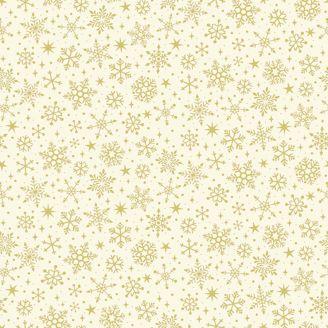 Tissu patchwork flocons de neige dorés fond écru - Yuletide