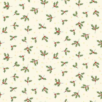 Tissu patchwork rameaux de houx fond écru - Yuletide