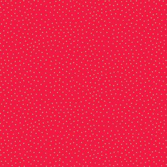 Tissu patchwork minis pois dorés fond rouge - Yuletide