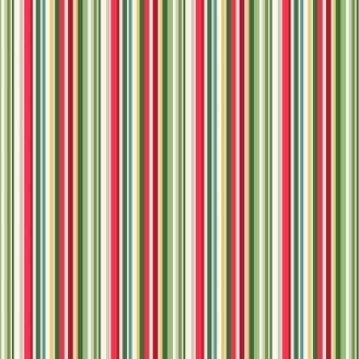 Tissu patchwork rayures vertes rouges et écrues - Yuletide