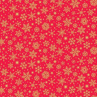Tissu patchwork flocons de neige dorés fond rouge - Yuletide