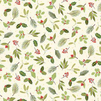 Tissu patchwork branchages de Noël éparpillés fond écru - Yuletide