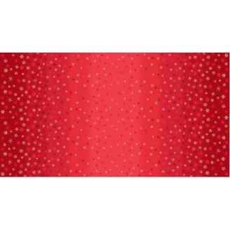 Tissu patchwork flocons de neige sur dégradé rouge - Ombre Snowflake
