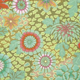 Tissu patchwork Kaffe Fassett grandes fleurs Dream fond kaki GP148