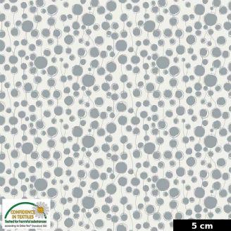 Tissu patchwork gouttes grises fond blanc - Quilters Combination
