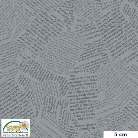 Tissu patchwork coupures de presse fond gris - Quilters Combination