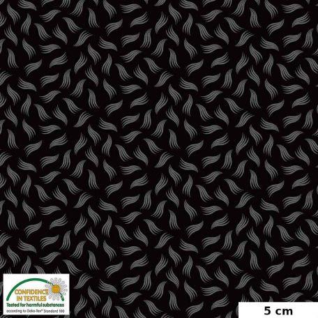 Tissu patchwork pétales stylisés gris fond noir - Quilters Combination